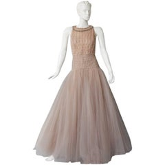 Valentino $19K Fantasy Silk Net & Tulle Beaded Pink Gown  New!