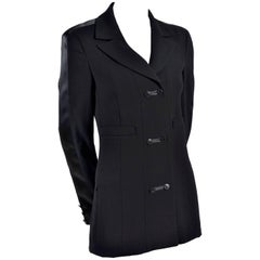 2003 Chanel Jacket Black Wool Blazer W Satin Stripes in Size 38