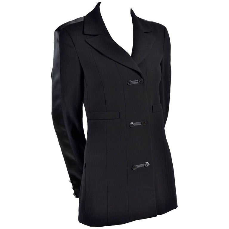 2003 Chanel Jacket Black Wool Blazer W Satin Stripes in Size 38 For Sale