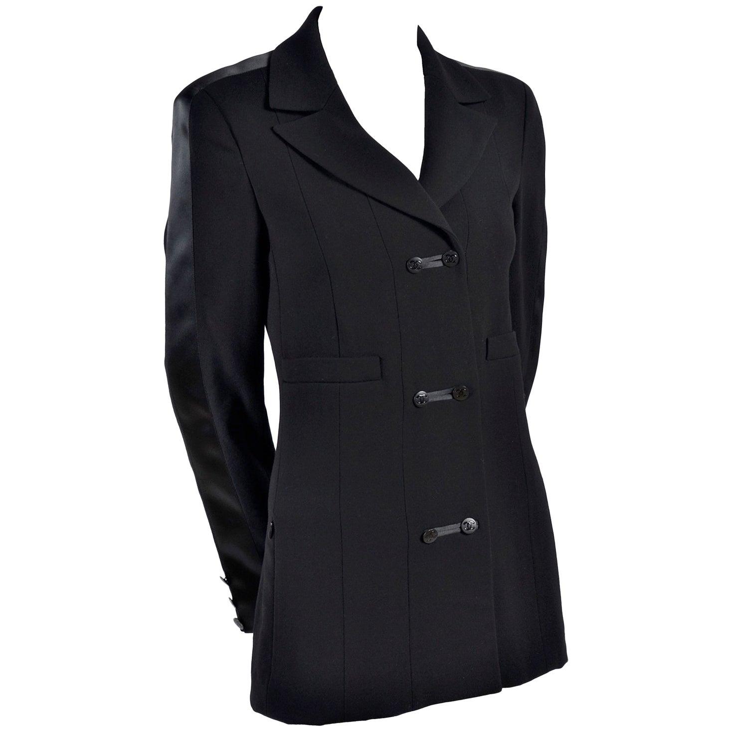 2003 Chanel Jacket Black Wool Blazer W Satin Stripes in Size 38