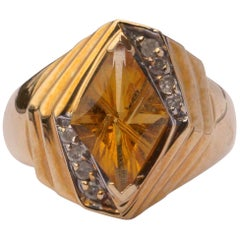 Vintage 14K Gold Citrine and Cubic Zirconia Ring
