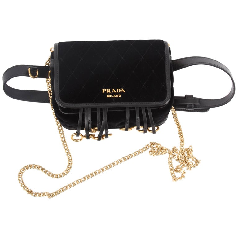 17b112d8ff245b ... PursesCrossbody Bags and Messenger Bags. Prada Quilted Velvet Belt Bag  / Crossbody Chain - black For Sale