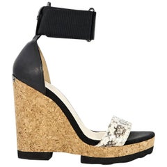 Black Jimmy Choo Neston Snake Wedge Sandals