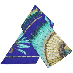 """Hermes Blue Purple Turquoise """"Feathers"""" Silk Maxi Twilly Scarf"""