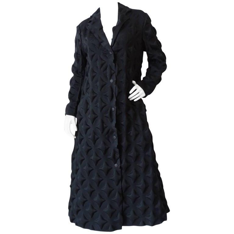 Rare Issey Miyake Diamond Embossed Black Coat