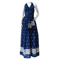 1970s Miss Elliette Polka-dot Halter Maxi Dress