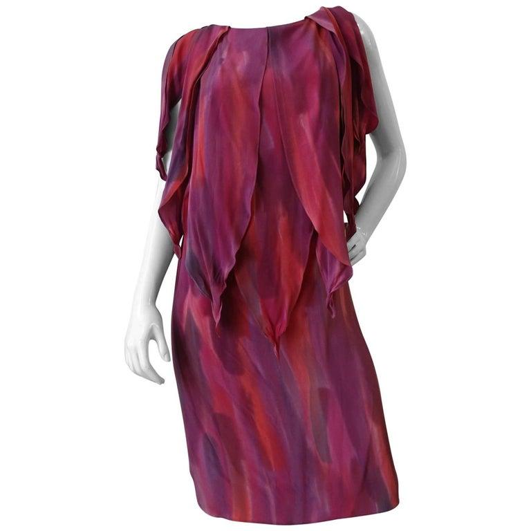 1980s Chiffon Watercolor Ruffle Petal Dress