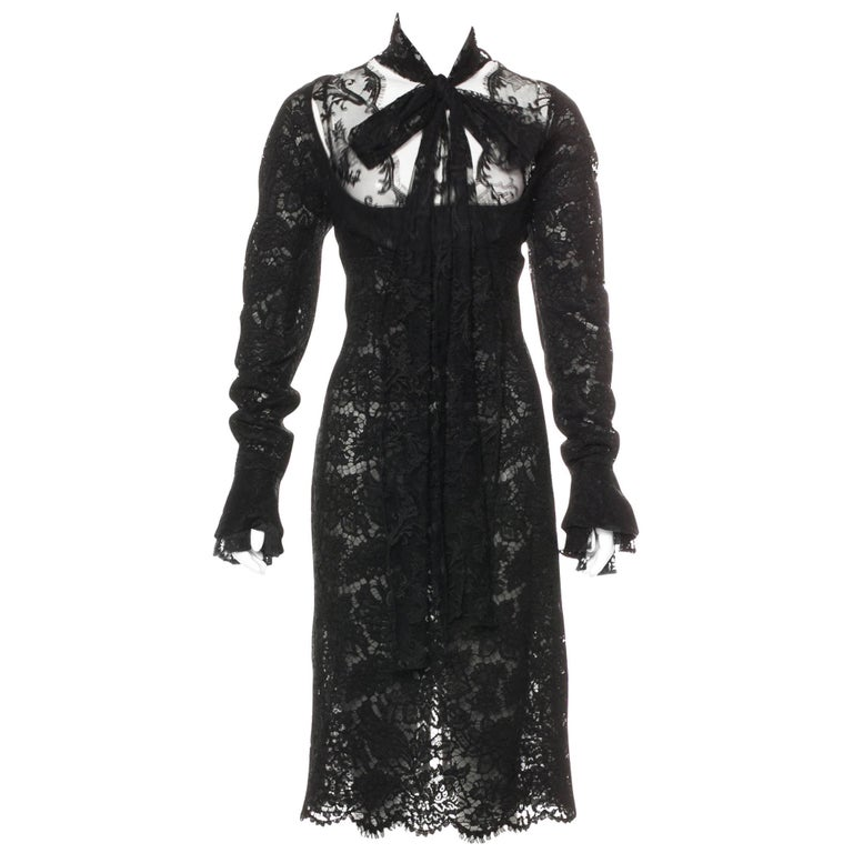 Yves Saint Laurent by Tom Ford Black Lace Cocktail Dress with Scarf Ties