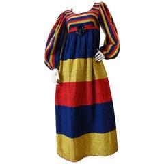 1960s Rikma Primary Color Striped Dress
