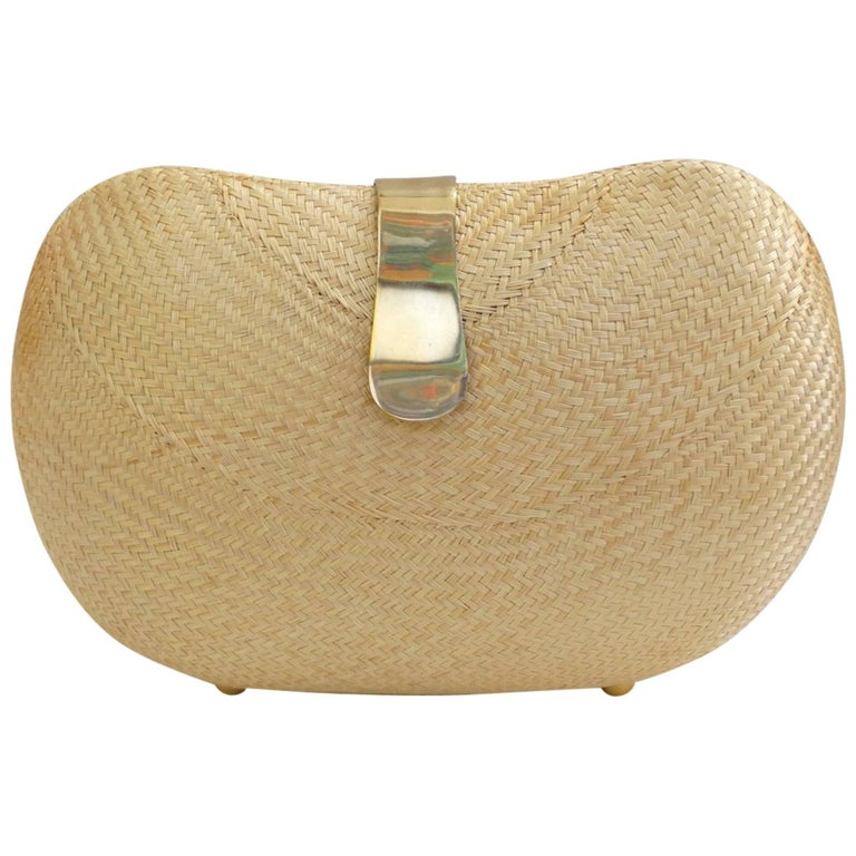 1970s Woven Rattan Bag W/ Gold Hardware For Sale