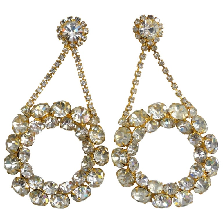 1980s Oversized Rhinestone Hoop Drop Earrings  For Sale