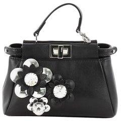 Fendi Peekaboo Handbag Floral Embellished Leather Micro