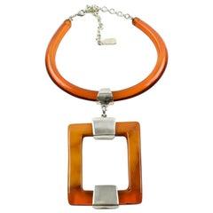 Dominique Denaive Paris Signed Orange Resin Modernist Sculptural Necklace