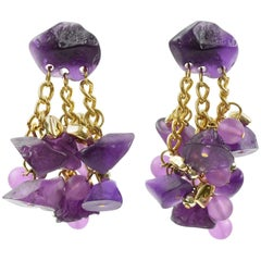 Oversized Dangling Chandelier Drop Lucite Pierced Earrings Purple Pebbles