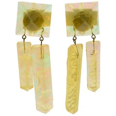 Oversized Italian Pearlized Yellow Ice Rock Lucite Dangling Clip on Earrings