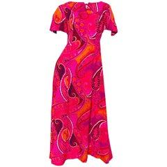 1960s Kamehameha Hot Pink + Orange Paisley Print Short Sleeve Vintage Maxi Dress