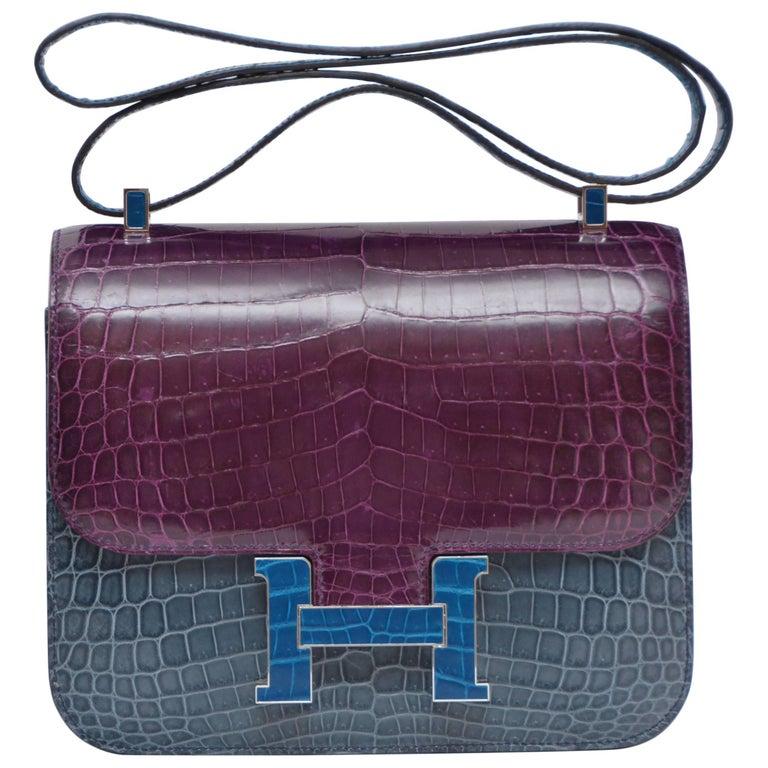 Hermes Constance Limited Edition Bleu Tempete Bleu Izmir Niloticus Handbag