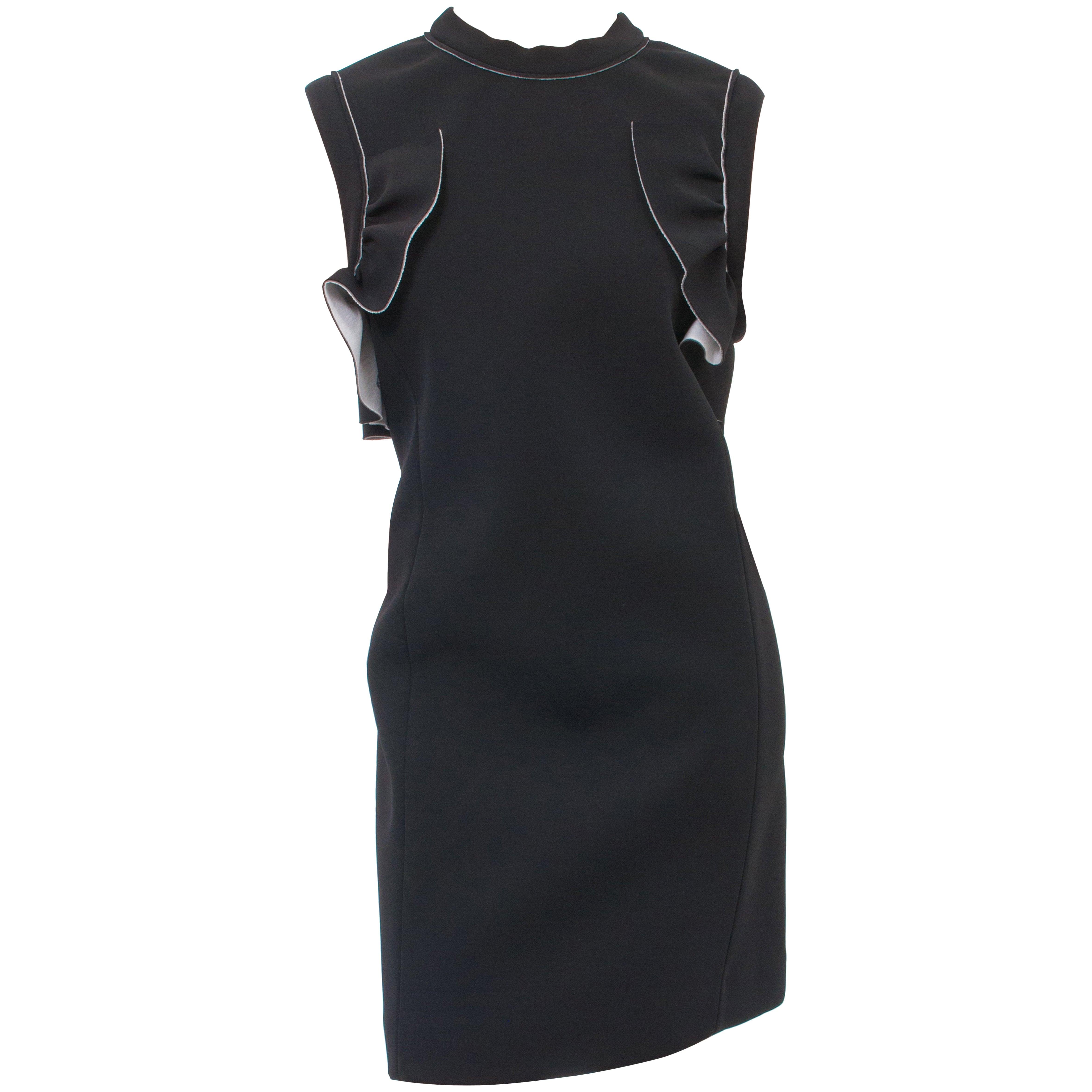 d7b4ca8ff03 Marni Black Neoprene Sleeveless Ruffle Dress at 1stdibs