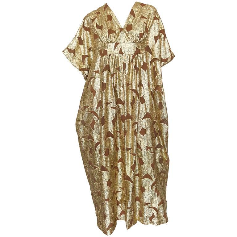 Amazing 1960s Gold + Brown Lurex and Silk Chiffon 60s Metallic Caftan Maxi Dress