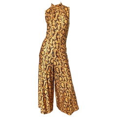 I Magnin Early 1970s Snakeskin Animal Print Wide Palazzo Leg Vintage Jumpsuit
