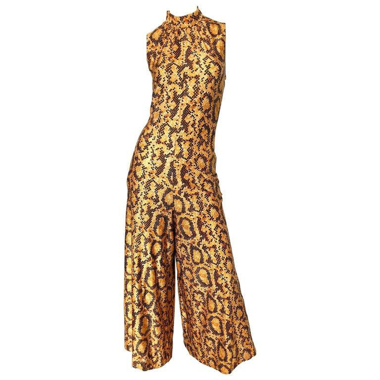 I Magnin Early 1970s Snakeskin Animal Print Wide Palazzo Leg Vintage Jumpsuit