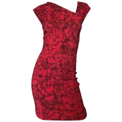 Michael Kors Collection 2010 Runway Size 4 / 6 Rose Petal Red + Black Mini Dress