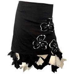 1990s Michelle Tan Black and White Origami Rhinestone Vintage Skirt