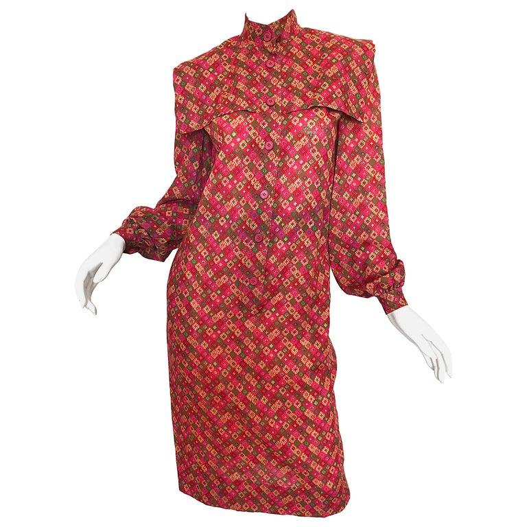 Vintage Givenchy 1980s Mosaic Tile Print Pink + Green Lightweight Wool Sac Dress