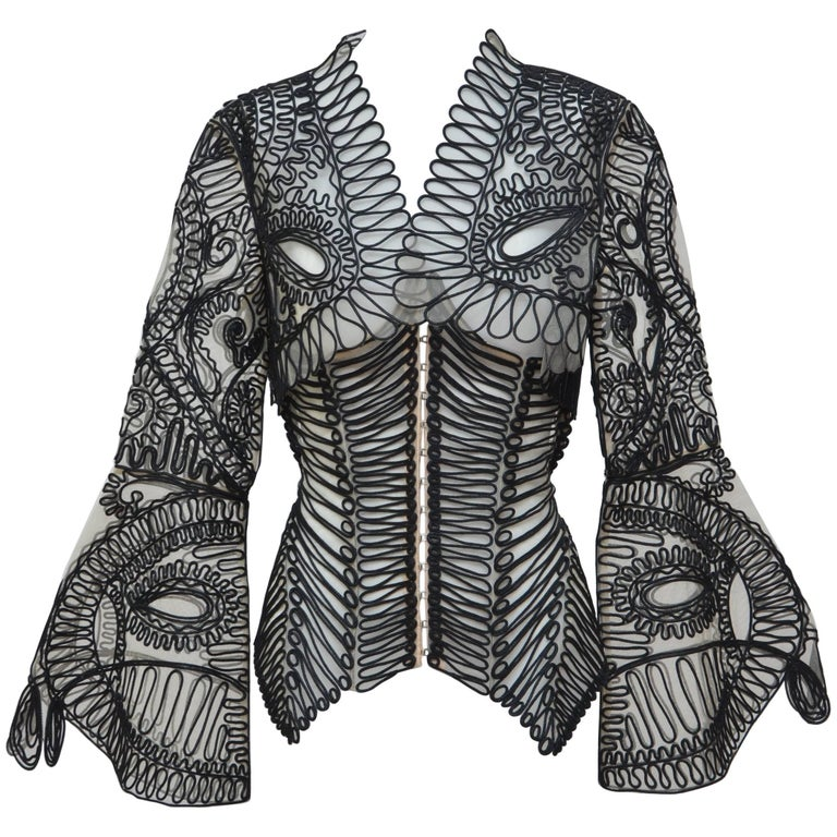 Gianfranco Ferre Embroidered  Corset With Matching Bollero Jacket '02 Runway  For Sale