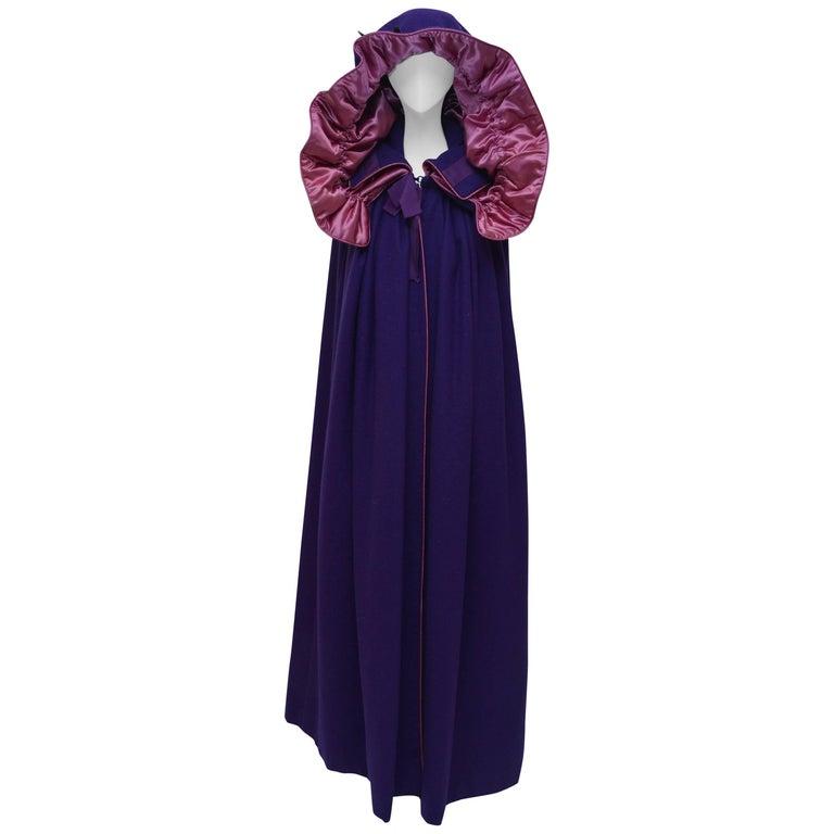 Yves Saint Laurent YSL  Purple Cape Coat  Vintage