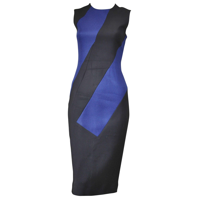 Roksanda Black and Blue Color Block  Wool Blend Fitted Dress