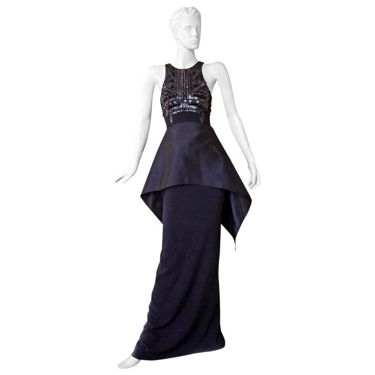 Antonio Berardi Beaded Black Runway Dress Gown   New!