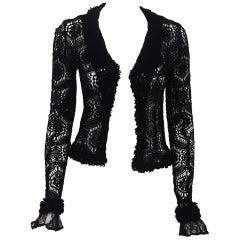 Chanel Black Crochet Long Sleeve Jacket With Double Collar & Lapel
