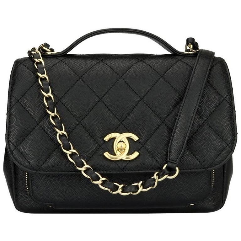 947aa5bd4a42 CHANEL Business Affinity Medium Black Caviar with Champagne Hardware 2017  For Sale