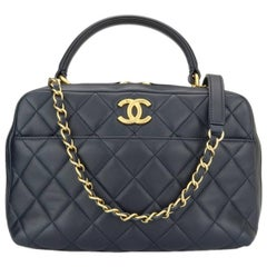 CHANEL Trendy CC Bowling Small Navy Lambskin with Gold Hardware 2016