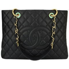 CHANEL Grand Shopping Tote (GST) Black Caviar with Gold Hardware 2012