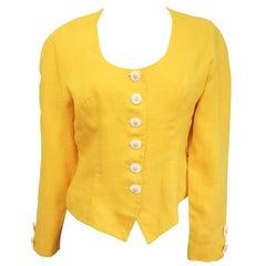 Cacharel Daisy Yellow Linen Top, 1980s