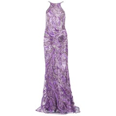 New Atelier Versace Wisteria Purple Silk Fully Beaded Dress Gown It. 42