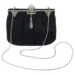 1980's Judith Leiber Art Deco Style Black Satin Evening Handbag