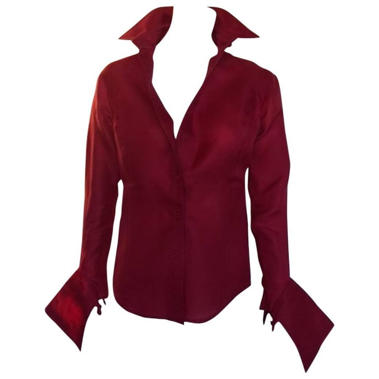 2000s Gianfranco Ferrè Silk Organza Red Cherry Blouse Made in Italy