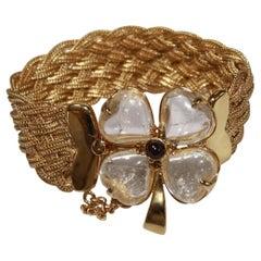 Goossens Paris Woven Gold, Rock Crystal, and Garnet Clover Bracelet