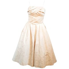 1950s Ivory Jacquard Dress w/ Beaded Bodice
