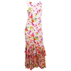 1930s Floral Printed Ruffle Hem Gown