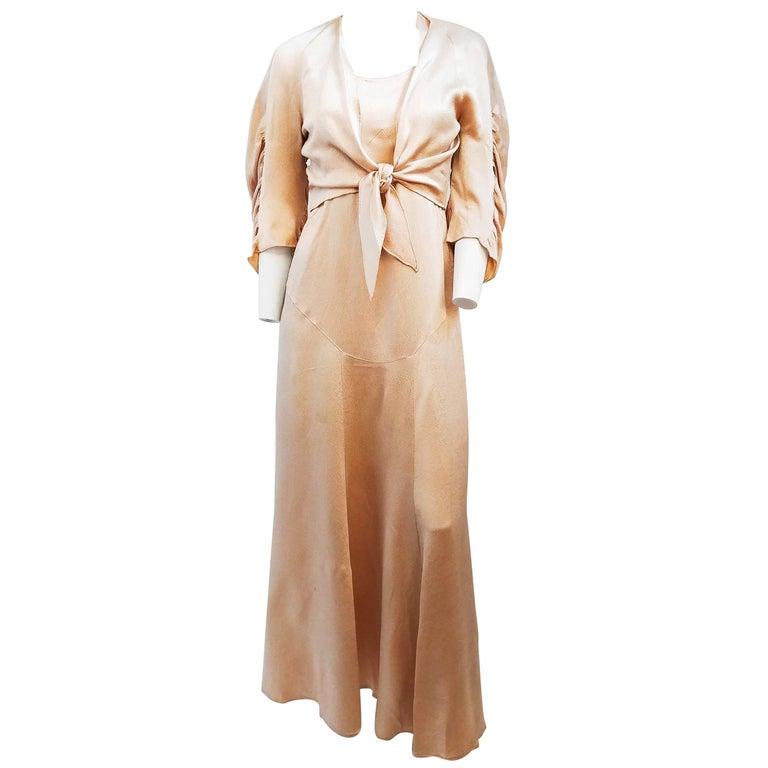 1930s Pink Hammered Silk Dress & Bolero Set