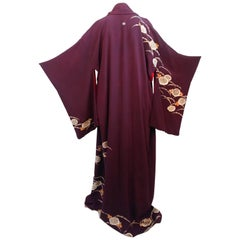 Aubergine Purple Painted Shibori Kimono, 1940s