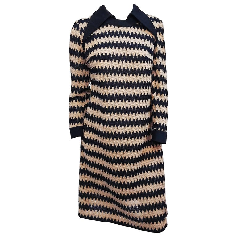 Tan and Black Knit Zig-Zag Collared Dress, 1970s For Sale