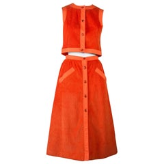 Courreges Orange Corduroy Skirt Set - 1970's Condition