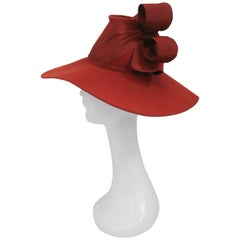 Burnt Orange Wide-Brimmed Hat with Structured Bow, 1940s