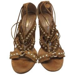 Aquazzura Firenze Tan Suede Studded Sandal