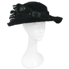 Edwardian Black Fur Felt Picture Hat w/ Painted Ribbon, 1910s